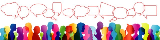 Fala da multidão Discurso entre povos Para comunicar-se Silhueta colorida grupo de pessoas do perfil Bolha do discurso discurso ilustração stock