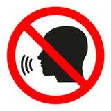 Fala da parada do sinal Sinal vermelho da proibição na cabeça de fala preta ilustração royalty free