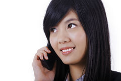 Fala de sorriso do telefone da mulher de negócio imagens de stock
