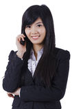 Fala de sorriso do telefone da mulher de negócio fotos de stock royalty free