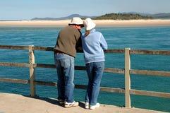 Fala do pai & da filha Fotografia de Stock Royalty Free