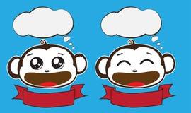 Fala engraçada de dois macacos com placa da bolha Foto de Stock