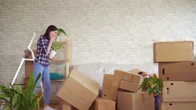 Fala mężczyzna spada z pudełkami, problemy gdy ruszający się nowy mieszkanie zbiory