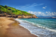 Fala na piasek plaży Fotografia Stock