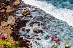 Fala Pacyficzny ocean przez Bougainvillea kwitną Uluwatu, Bali, Indonezja zdjęcia royalty free