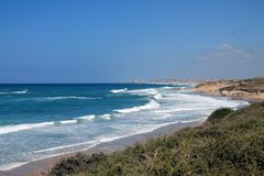 Palmahim plaża Obrazy Royalty Free