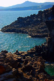 Fala rozbija na Jeju seashore. Fotografia Royalty Free