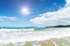 Fala w piasku na plaży i morzu Fotografia Stock