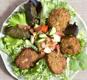 Falafel. Lotus leaf filled with rice and salad Royalty Free Stock Images