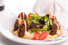 Falafel Appetizer Plate Garnished with Lettuce and Tomatoe Slice Stock Photography