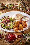 Falafel balls with salad Royalty Free Stock Image