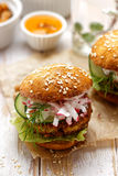 Falafel burger on a wooden rustic table Stock Images
