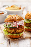 Falafel burger on a wooden rustic table Stock Image