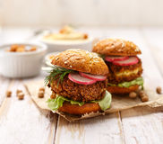 Falafel burger on a wooden rustic table Royalty Free Stock Image
