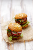 Falafel burger on a wooden rustic table Stock Photography