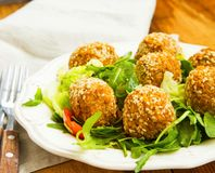 Falafel.Chickpeas balls with sesame and green salad on plate Royalty Free Stock Photography