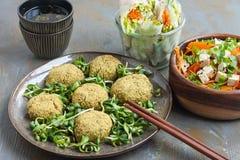 Falafel, de lentebroodjes, salade met tofu en wortel royalty-vrije stock afbeeldingen