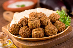 Falafel. Delicious homemade falafel with pita bread Stock Image