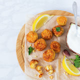 Falafel dish cutting board Stock Photos