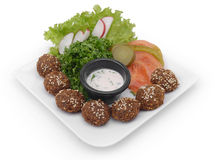 Falafel dish with veggies Stock Photos