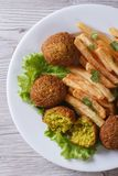 Falafel with French fries, lettuce top view vertical Royalty Free Stock Photo