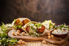 Falafel and fresh lettuce Stock Photography