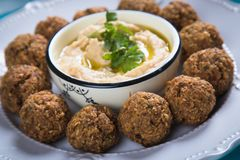 Falafel, fried chickpea balls. Falafel, middle eastern fried chickepa balls, popular fast food meal Royalty Free Stock Photos