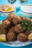 Falafel, fried chickpea balls. Falafel, middle eastern fried chickepa balls, popular fast food meal Stock Photography