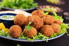 Falafel, hummus и пита Ближневосточные или арабские блюда на темной предпосылке стоковые изображения