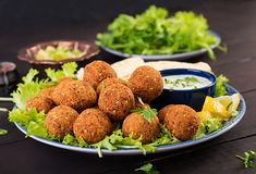 Falafel, hummus and pita. Middle eastern or arabic dishes on a dark background. Halal food royalty free stock images