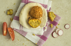 Falafel and kuboos. Royalty Free Stock Images