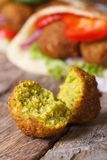 Falafel macro against the background of pita bread vertical Royalty Free Stock Images