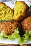 Falafel macro with lettuce and tzatziki sauce Stock Photos