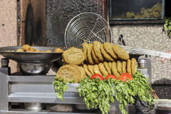 Falafel in metal bowl,Fa lafel is a traditional Egyptian food Royalty Free Stock Photos