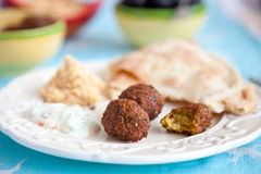 Falafel and mezze table Stock Photography
