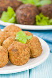 Falafel. Middle Eastern chickpea and fava beans fried balls served with tzatziki. Traditional spicy snack Stock Images