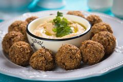 Falafel, fried chickpea balls. Falafel, middle eastern fried chickepa balls, popular fast food meal Royalty Free Stock Photography