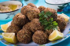Falafel, fried chickpea balls. Falafel, middle eastern fried chickepa balls, popular fast food meal Royalty Free Stock Photo