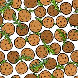 Falafel och Arugula Herb Leaves Seamless Endless Background östlig mitt för kokkonst Arabiska Israel Vegetarian Healthy Fast Food royaltyfri illustrationer