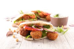 Falafel with pita bread. And vegetable royalty free stock image