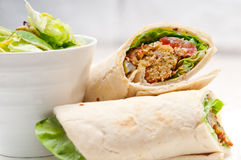 Falafel pita bread roll wrap sandwich Royalty Free Stock Images