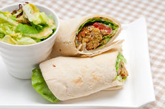 Falafel pita bread roll wrap sandwich. Traditional arab middle east food Stock Photography