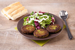 Falafel with pita bread and salad Royalty Free Stock Photography