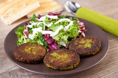 Falafel with pita bread and salad Royalty Free Stock Images