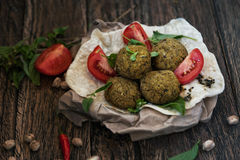 Falafel on pita bread Royalty Free Stock Image