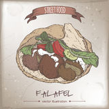 Falafel in pita color sketch on grunge background. Stock Photos