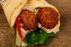 Falafel in Pita. With sauce royalty free stock photos