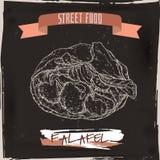 Falafel in pita sketch on grunge black background. Stock Images