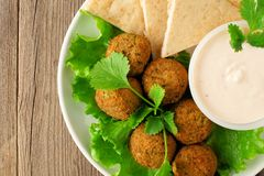 Falafel with pita and tzatziki. Above view. Stock Photo