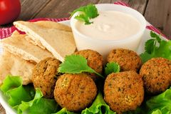 Falafel with pita and tzatziki Royalty Free Stock Image